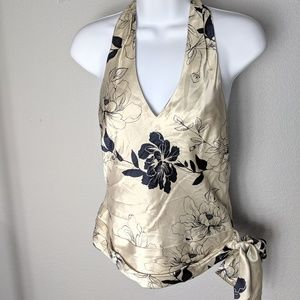 Banana Republic Silky Champagne Halter Top Floral